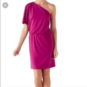 White House Black Market Dresses - White house black market one shoulder pink dress.
